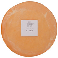 York Valley Cheese Company Druck's 22 lb. Daisy Clear Wax Sharp Colored Cheddar Cheese Flat Wheel