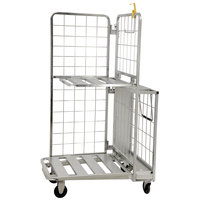 26 inch x 41 inch Mobile Galvanized Stocking Cart with 2 Walls