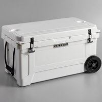 CaterGator CG65WHW White 65 Qt. Mobile Rotomolded Extreme Outdoor Cooler / Ice Chest