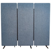 Luxor RCLM7266ZPB RECLAIM Pacific Blue Room Divider Set with 3 Panels - 72 inch x 66 inch
