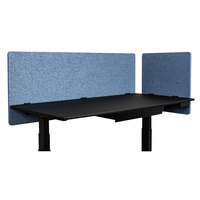 Luxor RCLM2D6024PB RECLAIM Pacific Blue Desk Mount Privacy Panel Set with (1) 24 inch x 24 inch Panel and (1) 60 inch x 24 inch Panel
