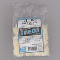 York Valley Cheese Company 8 oz. Bag White Cheddar Squeeky Cheese Curds - 12/Case
