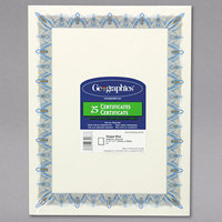 Geographics 39087 8 1/2 inch x 11 inch Pack of 24# Parchment Certificate Paper with Gold Seal and Blue Border - 25/Sheets