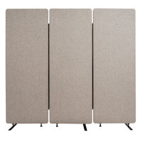Luxor RCLM7266ZMG RECLAIM Misty Gray Room Divider Set with 3 Panels - 72 inch x 66 inch