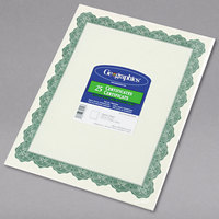 Geographics 39452 8 1/2 inch x 11 inch White Pack of 24# Certificate Paper with Green Optima Border - 25/Sheets