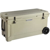 CaterGator CG100TANW Tan 100 Qt. Mobile Rotomolded Extreme Outdoor Cooler / Ice Chest