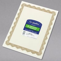 Geographics 39451 8 1/2 inch x 11 inch White Pack of 24# Certificate Paper with Gold Optima Border - 25/Sheets