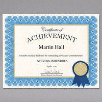 Geographics 47404 8 1/2 inch x 11 inch Blue Spiral Award Certificate Kit