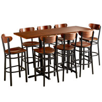 Lancaster Table & Seating 30 inch x 72 inch Antique Walnut Solid Wood Live Edge Bar Height Table with 8 Boomerang Chairs