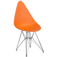 Flash Furniture FH-251-CPP-OR-GG Allegra Teardrop Orange Plastic Accent Side Chair with Chrome Base
