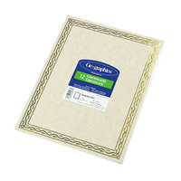 Geographics 44407 8 1/2 inch x 11 inch Foil Stamped Pack of 24# Certificate Paper with Gold Serpentine Border - 12/Sheets