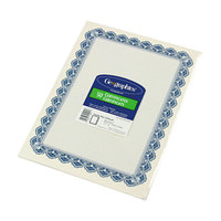 Geographics 22901 8 1/2 inch x 11 inch White Pack of 24# Certificate Paper with Blue Royalty Border - 50/Sheets