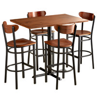 Lancaster Table & Seating 30 inch x 48 inch Antique Walnut Solid Wood Live Edge Bar Height Table with 4 Boomerang Chairs