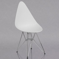 Flash Furniture FH-251-CPP-WH-GG Allegra Teardrop White Plastic Accent Side Chair with Chrome Base