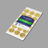 Geographic 45204 1 1/4 inch Gold Self-Adhesive Embossed Seal with Assorted Design - 54 Sheets