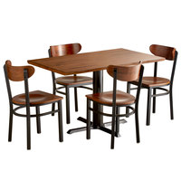 Lancaster Table & Seating 30 inch x 48 inch Antique Walnut Solid Wood Live Edge Dining Height Table with 4 Boomerang Chairs