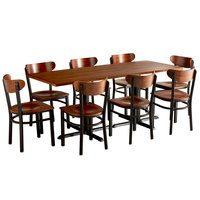 Lancaster Table & Seating 30 inch x 72 inch Antique Walnut Solid Wood Live Edge Dining Height Table with 8 Boomerang Chairs