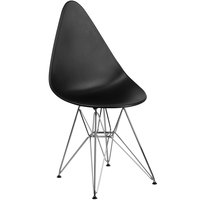 Flash Furniture FH-251-CPP-BK-GG Allegra Teardrop Black Plastic Accent Side Chair with Chrome Base