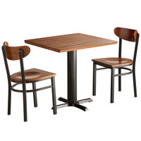 Lancaster Table & Seating 30 inch Square Antique Walnut Solid Wood Live Edge Dining Height Table with 2 Boomerang Chairs