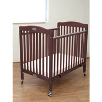 L.A. Baby CW883A Cherry 24 inch x 38 inch Folding Wood Crib with 3 inch Vinyl Covered Mattress