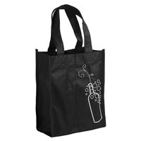 7 inch x 3 3/4 inch x 9 1/4 inch Elkay Plastics Black Non-Woven Reusable Two Bottle Wine Bag - 600/Case