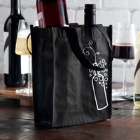 LK Packaging Black Non-Woven Reusable Two Bottle Wine Bag - 600/Case