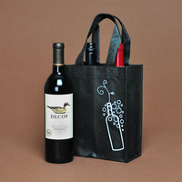 7 inch x 7 1/2 inch x 9 1/4 inch Elkay Plastics Black Non-Woven Reusable Four Bottle Wine Bag - 300/Case