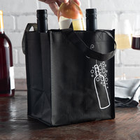 LK Packaging Black Non-Woven Reusable Four Bottle Wine Bag - 300/Case