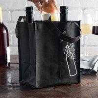 Elkay Plastics Black Non-Woven Reusable Four Bottle Wine Bag - 300/Case