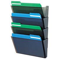Deflecto 73402 DocuPocket Smoke 4-Pocket Stackable Wall File System