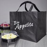 14 inch x 12 inch x 12 inch Elkay Plastics Black Non-Woven Reusable Catering and Takeout Bag - 100/Case