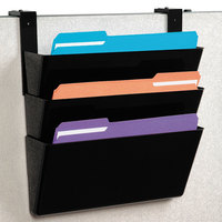 Deflecto 73504 DocuPocket 13 inch x 7 inch x 4 inch Black 3-Pocket File Set for Partition Walls