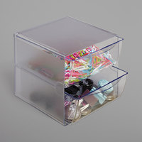 Deflecto 350101 6 inch x 7 1/8 inch x 6 inch Clear Stackable 2-Drawer Organizer Cube