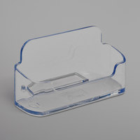 Deflecto 70101 3 7/8 inch x 1 3/8 inch x 1 13/16 inch Clear Plastic Horizontal Business Card Holder