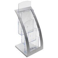 Deflecto 693645 6 3/4 inch x 6 15/16 inch x 13 1/4 inch Silver 3-Tier Literature Holder