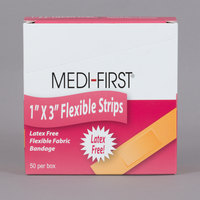 Medi-First 62550 1 inch x 3 inch Woven Adhesive Bandage Strip - 50/Box