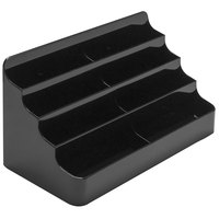Deflecto 90804 7 7/8 inch x 3 7/8 inch x 3 3/8 inch Black Plastic 8-Pocket Business Card Holder