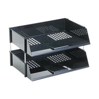 Deflecto 582704 Black Industrial 2-Tray Side-Load Stacking Tray Set with Metal Risers