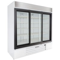 Beverage-Air MMR66HC-1-W MarketMax 75 inch White Refrigerated Sliding Glass Door Merchandiser with LED Lighting