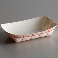 #40 6 oz. Red Check Paper Food Tray - 1000/Case