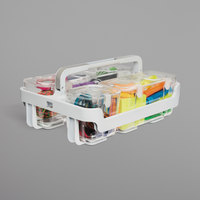 Deflecto 29003 10 1/2 inch x 14 inch x 6 1/2 inch White / Clear Stackable Caddy Organizer with Assorted Containers