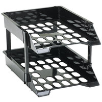 Deflecto 63304 SuperTray Black Countertop 2-Tray Set with Risers