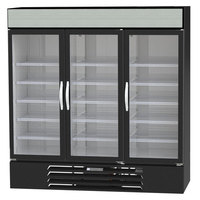 Beverage-Air MMR66HC-1-B MarketMax 75 inch Black Refrigerated Sliding Glass Door Merchandiser with LED Lighting