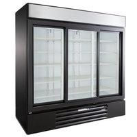 Beverage-Air MMR66HC-1-B MarketMax 75 inch Black Refrigerated Sliding Glass Door Merchandiser with LED Lighting