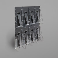 Deflecto 56201 Stand-Tall 18 1/4 inch x 3 3/8 inch x 23 3/4 inch Black 8-Pocket Leaflet Size Wall Mount Literature Rack