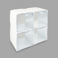 Deflecto 421103 4 5/8 inch x 4 7/8 inch x 5 1/2 inch White Interlocking Tilt-Bin Organizer - 4/Pack
