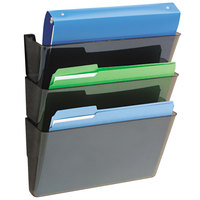 Deflecto 73502RT DocuPocket 13 inch x 7 inch x 4 inch Smoke 3-Pocket File Set for Partition Walls