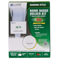 C-Line Products 97043 4 inch x 3 inch White Top Load Cord Name Badge Holder Kit with Inserts