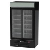 Beverage-Air MMR38HC-1-B MarketMax 43 1/2 inch Black Two Section Glass Door Merchandiser Refrigerator - 35.37 Cu. Ft.