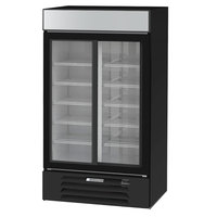 Beverage-Air MMR38HC-1-B MarketMax 43 1/2 inch Black Two Section Glass Door Merchandiser Refrigerator - 35.37 Cu. Ft.